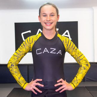CAZA BJJ Kids Yellow Rashie (Long Sleeve)